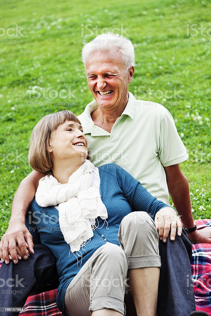 Affectionate Senior Couple Happy Moment royalty-free stock photo
