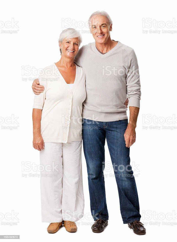 Affectionate Senior Couple Smiling - Isolated royalty-free stock photo