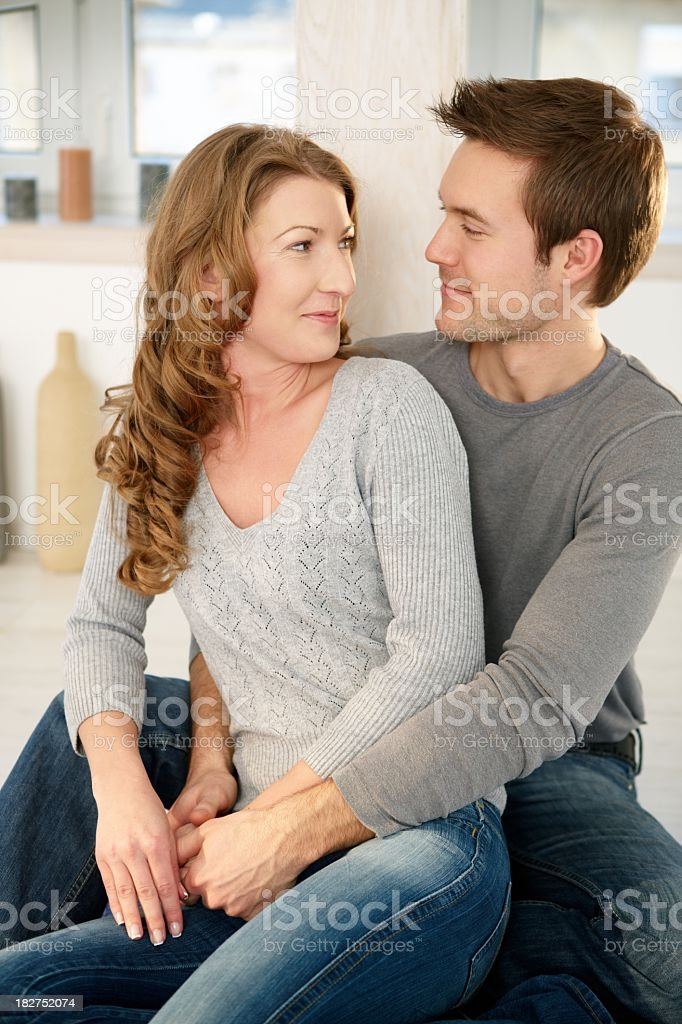 Affectionate young couple at home royalty-free stock photo