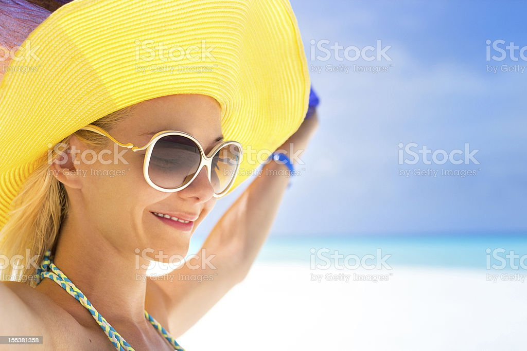 Affectionate young girl on beach royalty-free stock photo