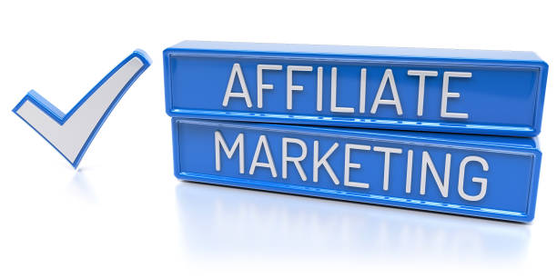Affiliate Marketing - 3D Render Affiliate Marketing - Blue banners with check mark - Isolated 3D Render affiliate stock pictures, royalty-free photos & images