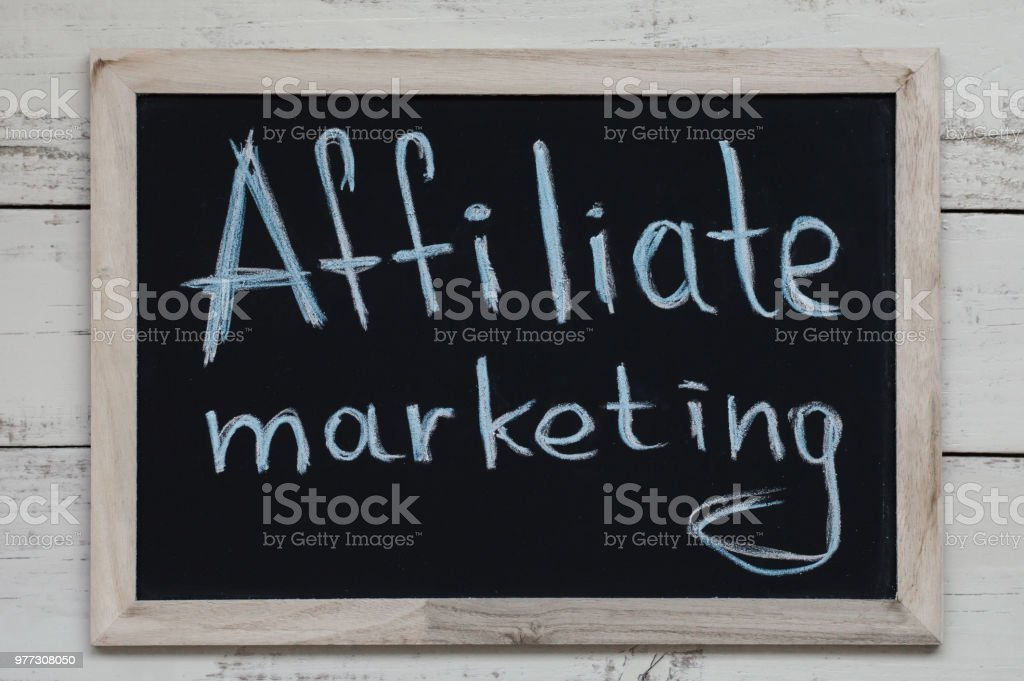 Affiliate Marketing. Blackboard with handwritten text stock photo