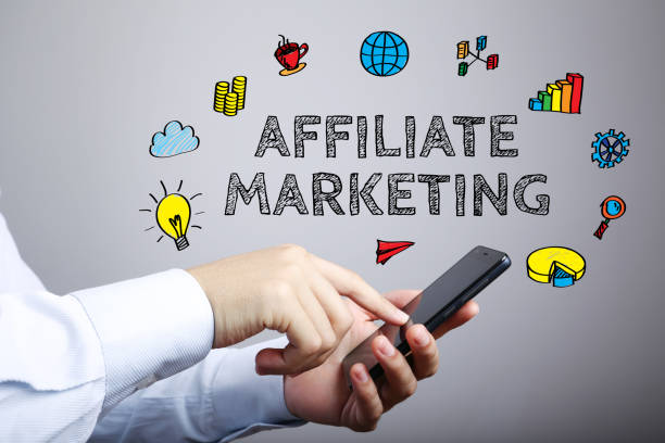 Affiliate Marketing Business Concept Affiliate Marketing business concept with businessman touching the smartphone. affiliate stock pictures, royalty-free photos & images