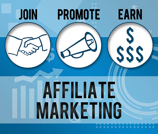 Affiliate Marketing Business Theme Background Affiliate Marketing concpetual image with various element and blue background. affiliate stock pictures, royalty-free photos & images