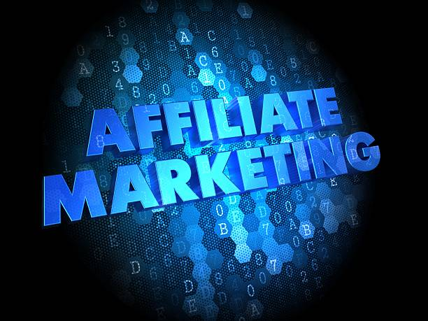 Affiliate Marketing Concept on Digital Background. Affiliate Marketing Concept - Blue Color Text on Dark Digital Background. affiliate stock pictures, royalty-free photos & images