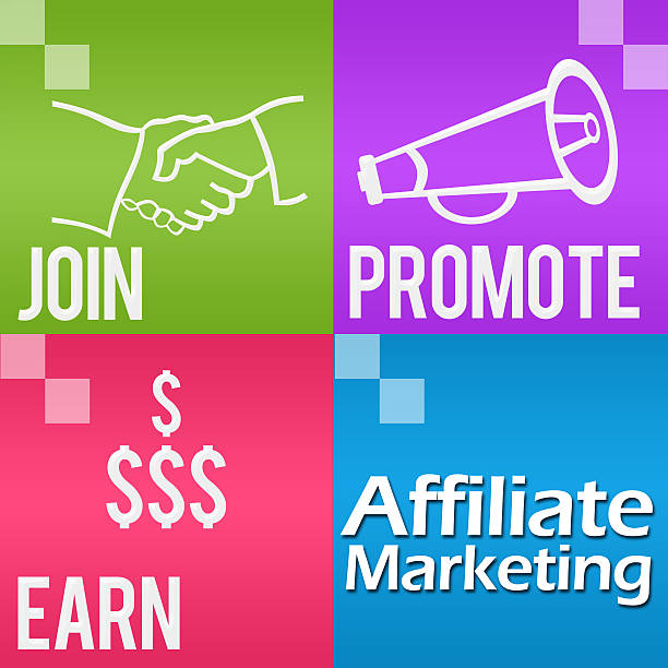 Affiliate Marketing Four Colorful Blocks Square Affiliate Marketing Image with four colorful blocks and related symbols. affiliate stock pictures, royalty-free photos & images