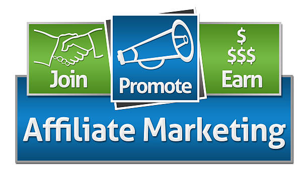 Affiliate Marketing Green Blue Squares Affiliate marketing concept image with text and related symbols. affiliate stock pictures, royalty-free photos & images