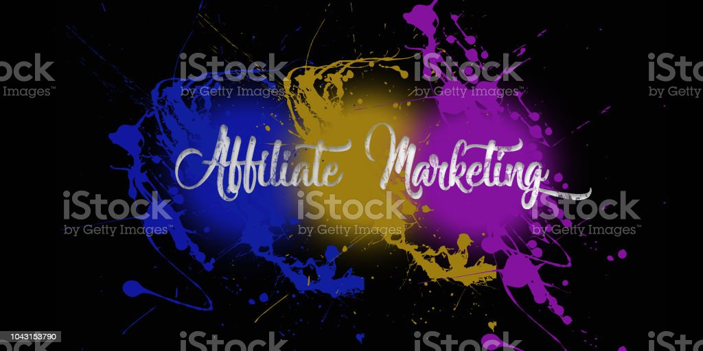 affiliate marketing paint splatter on a black wall caligraphy type font 3 color explosion stock photo
