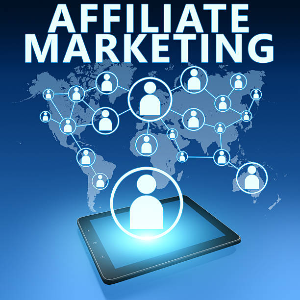 Affiliate Marketing Affiliate Marketing illustration with tablet computer on blue background affiliate stock pictures, royalty-free photos & images