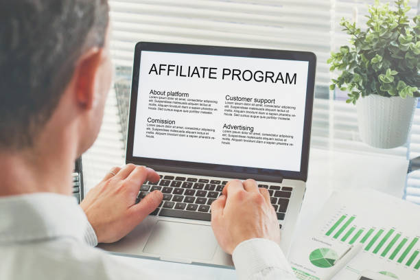 affiliate marketing program affiliate marketing program, concept on the screen of computer affiliate stock pictures, royalty-free photos & images