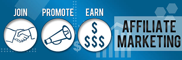 Affiliate Marketing Three Circles Business Theme Horizontal Affiliate Marketing Image with three blue circles and related symbols. affiliate stock pictures, royalty-free photos & images