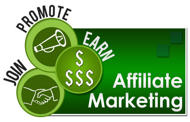 Affiliate Marketing Three Green Circles Affiliate marketing concept image with text and related symbols. affiliate stock pictures, royalty-free photos & images