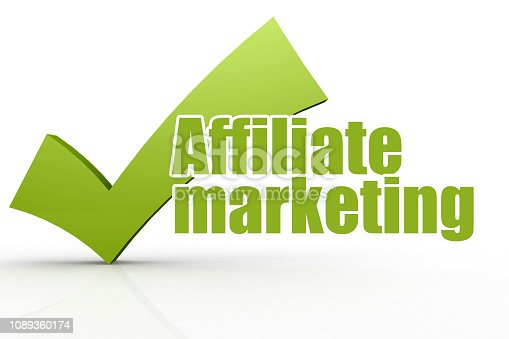 istock Affiliate marketing word with green checkmark 1089360174