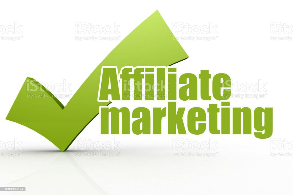 Affiliate marketing word with green checkmark stock photo