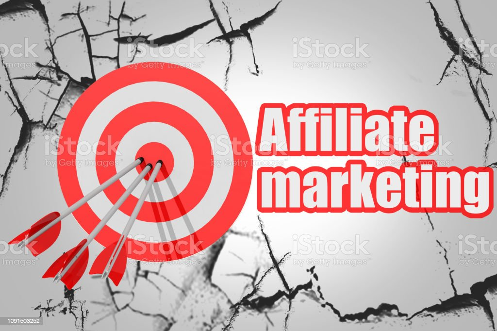 Affiliate marketing word with red arrow and board stock photo