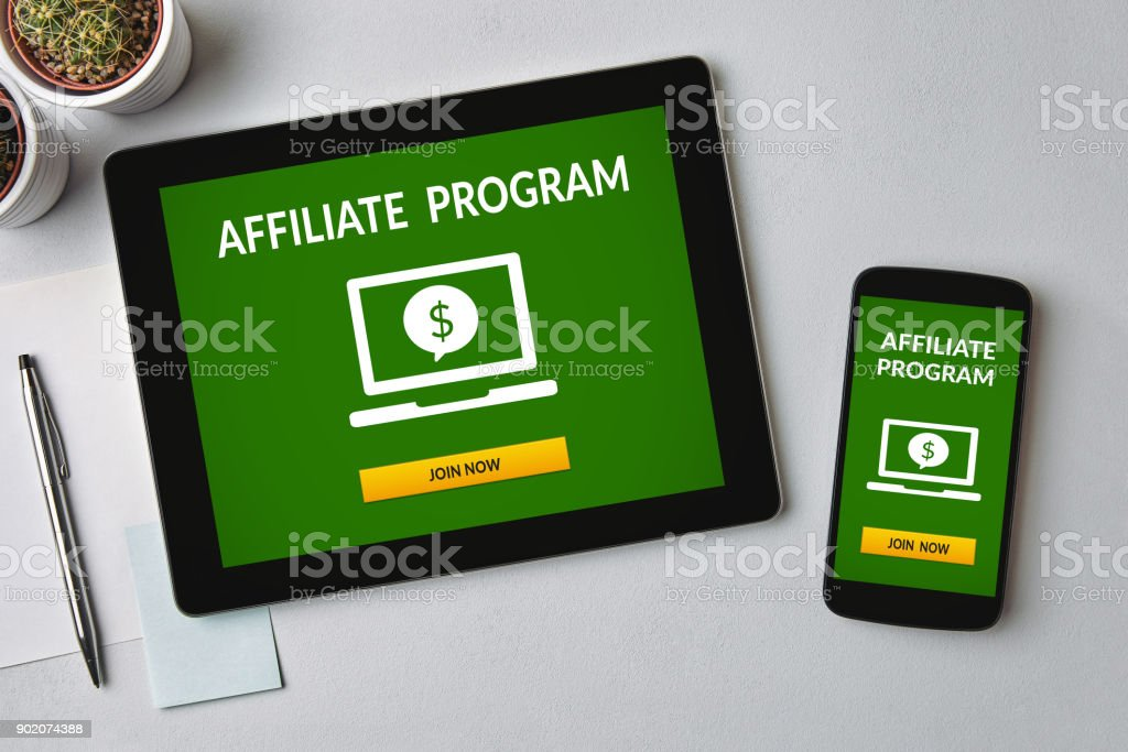 Affiliate program concept on tablet and smartphone screen stock photo
