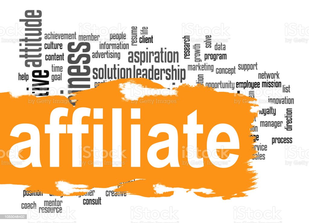 Affiliate word cloud with orange banner stock photo
