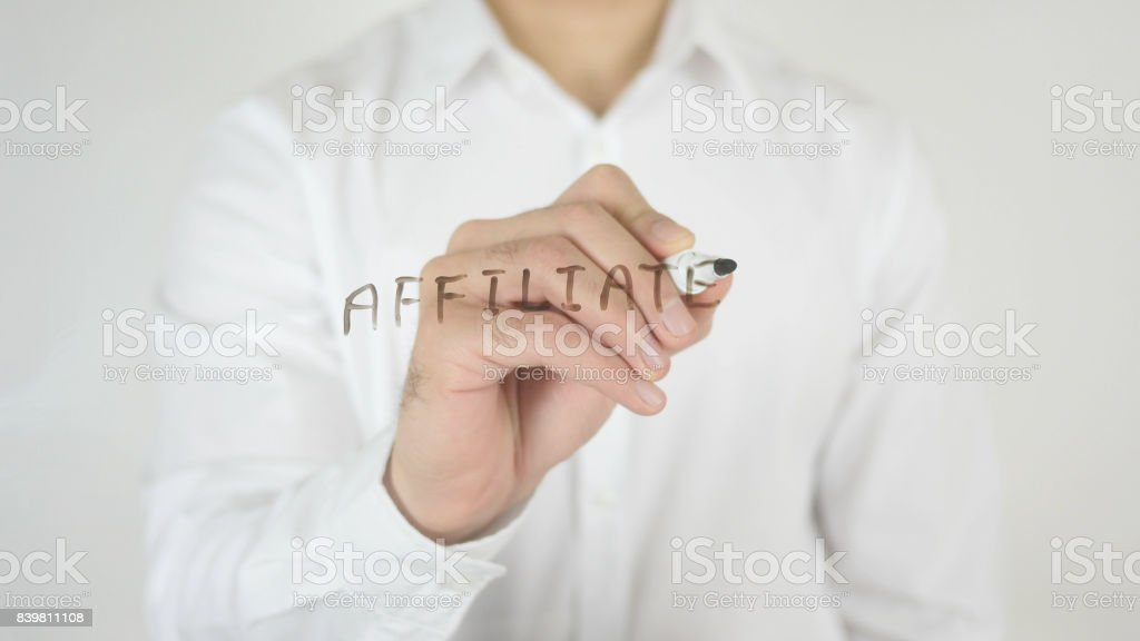 Affiliate, Written on Glass stock photo