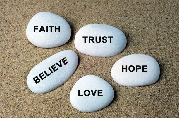 Affirmation Zen Stones With Text stock photo