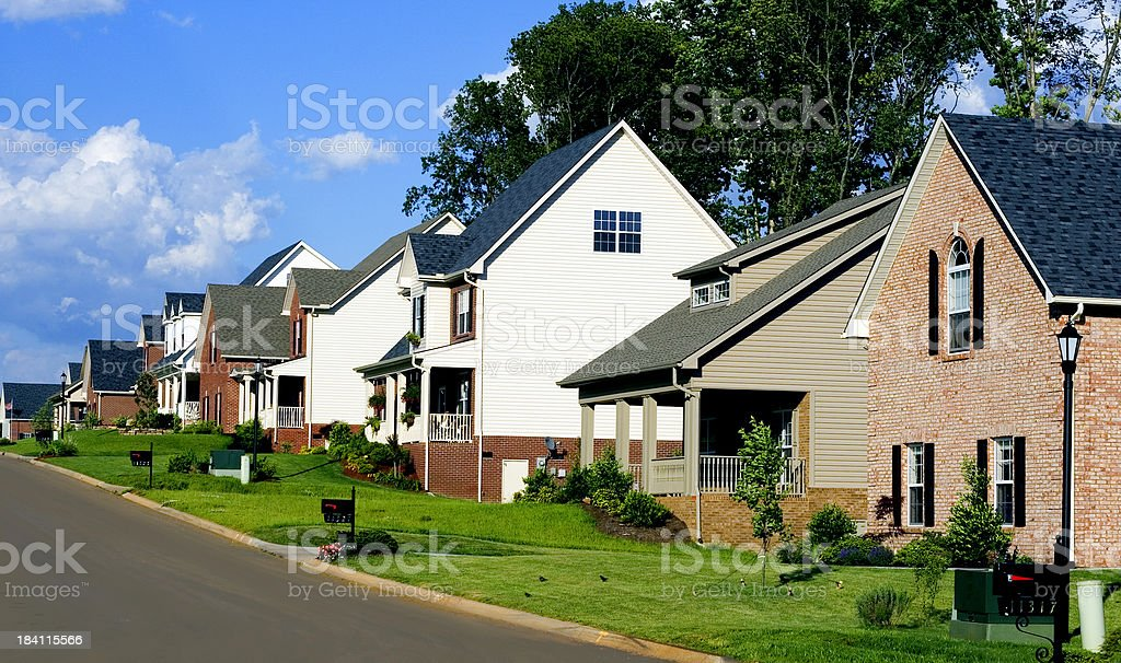 affluent neighborhood stock photo