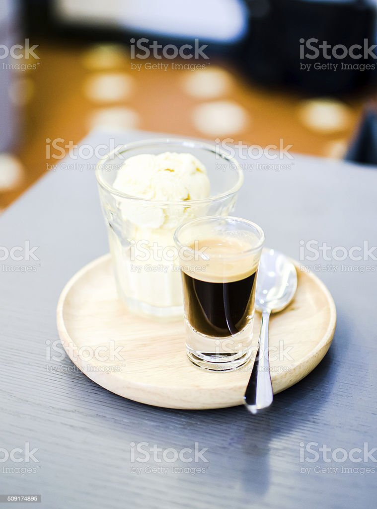 affogato coffee on table in coffee shop stock photo
