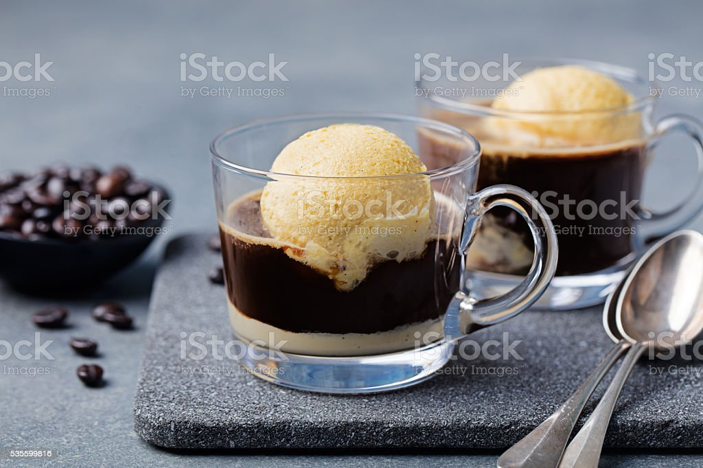 Affogato coffee with ice cream on a glass cup stock photo