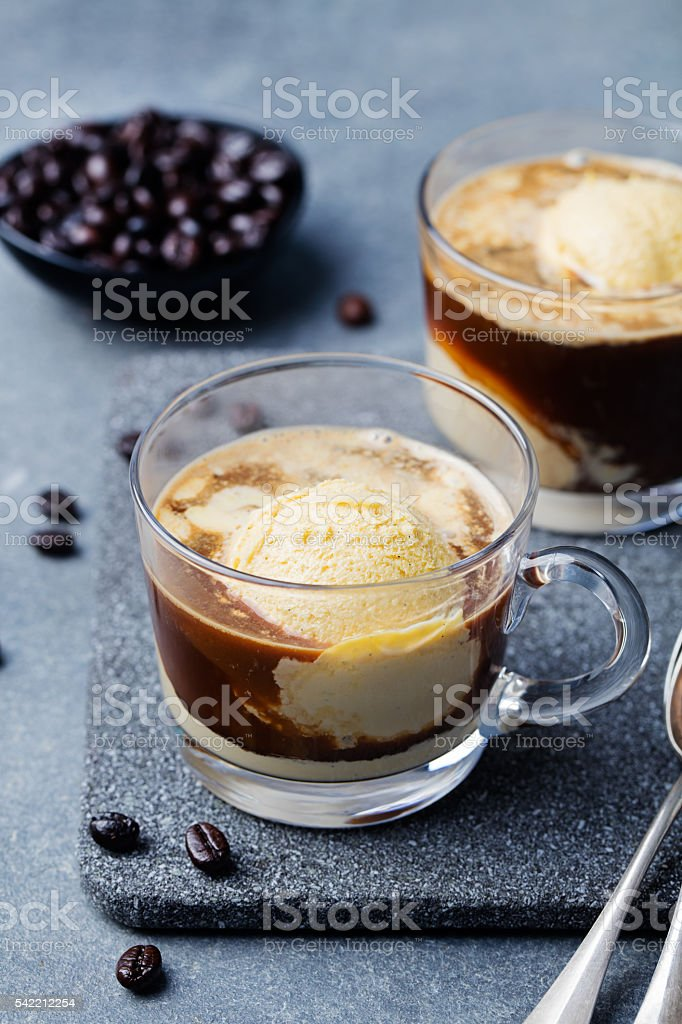 Affogato coffee with ice cream on glass cup Grey background 스톡 사진