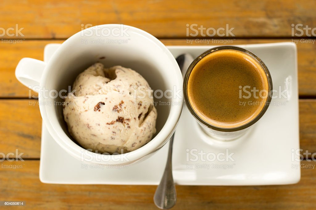 Affogato coffee with ice cream stock photo