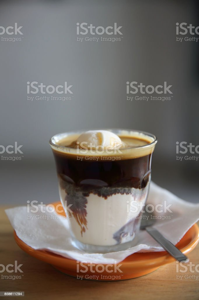Affogato , coffee with vanilla ice cream stock photo