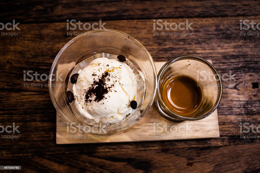 Affogato with Ice Cream and Coffee. stock photo