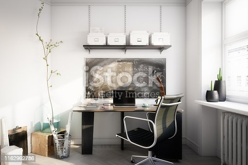 Digitally generated cozy and affordable home office interior design.  The scene was rendered with photorealistic shaders and lighting in Autodesk® 3ds Max 2020 with V-Ray Next with some post-production added.