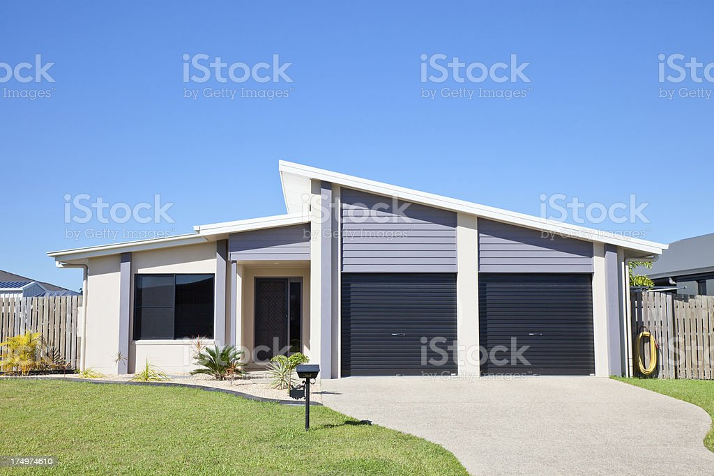 Affordable Home with clear blue sky copyspace stock photo