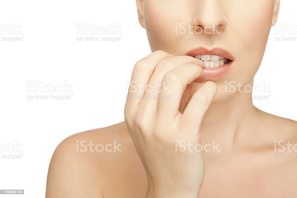 Affraid Woman Biting Her Fingernails stock photo