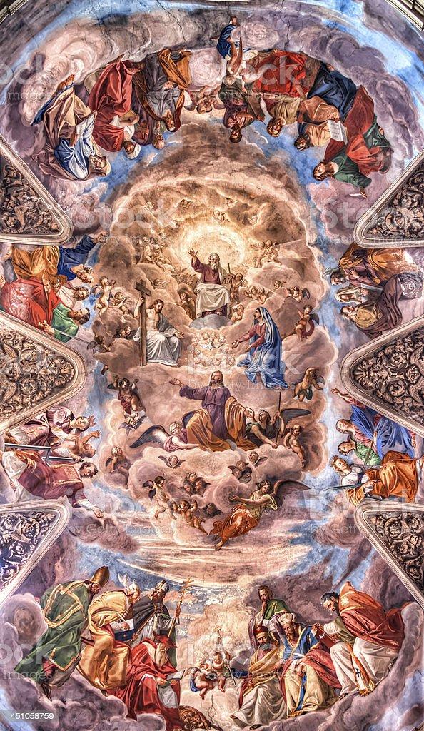 Affresco at the Basilica dei Santi Ambrogio e Carlo al royalty-free stock photo