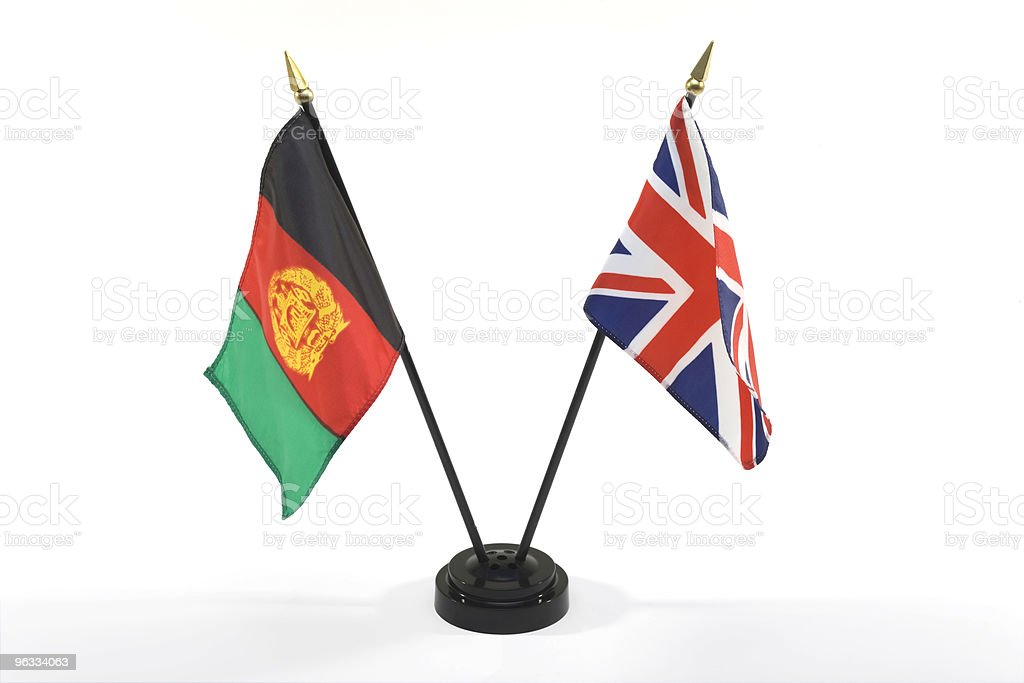 Afganistan and UK flags isolated stock photo