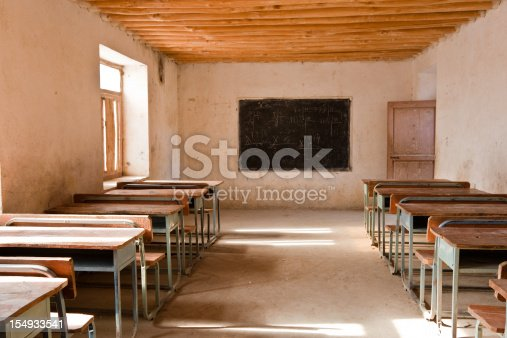 Sparsely decorated classroom in 3rd world country