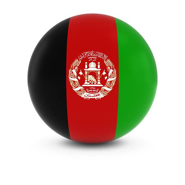 Bandeira do Afeganistão bola Bandeira do Afeganistão na esfera de isolamento - foto de acervo