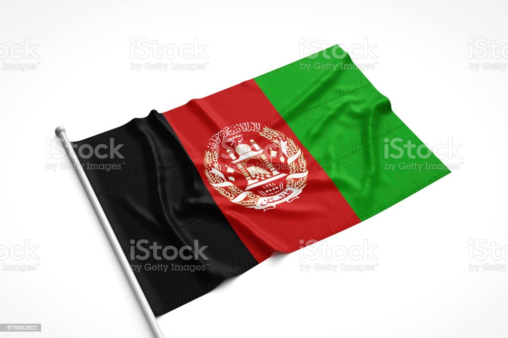 Afghan Flag is Laying on a White Surface stock photo