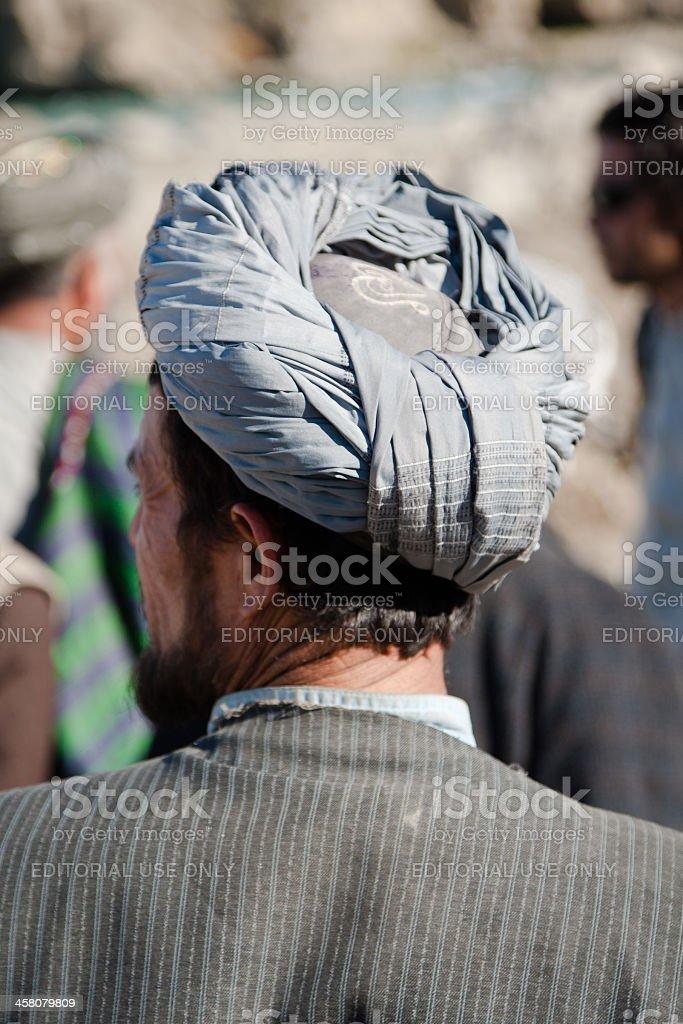 Afghan man in Badakshan with turban stock photo