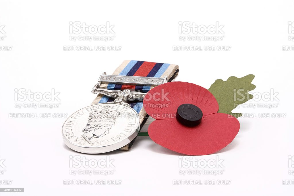 Afghan Medal n Poppy stock photo
