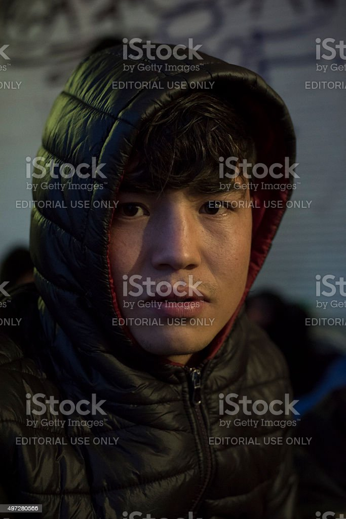 Afghan migrant traveling to Europe stock photo