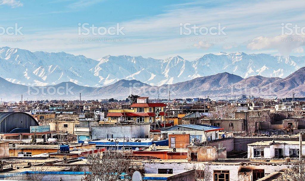 afghan vilage stock photo