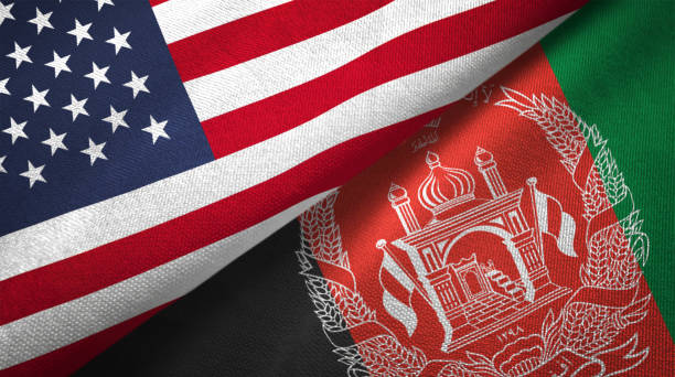 Afghanistan and United States two flags together realations textile cloth fabric texture Afghanistan and United States flags together realtions textile cloth fabric texture Afghanistan stock pictures, royalty-free photos & images