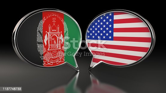 istock Afghanistan and USA flags with Speech Bubbles. 3D Illustration 1137748733