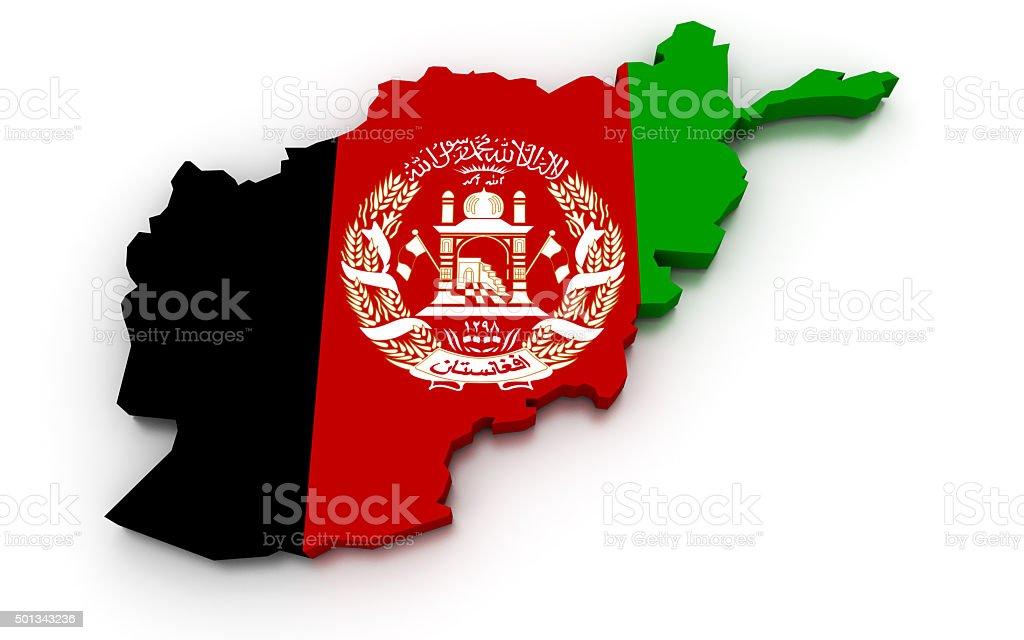 Afghanistan Flag Map stock photo