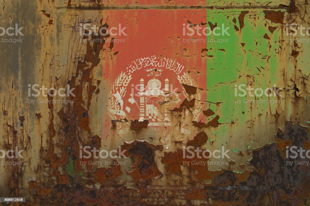 Afghanistan Flag on a Dirty Rusty Grunge Metalicl Surface stock photo