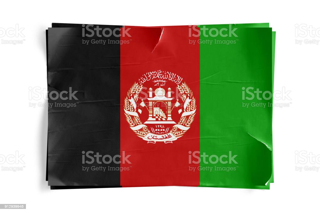 Afghanistan Flag on Torned Wrinkled Crumbled Paper Posters stock photo