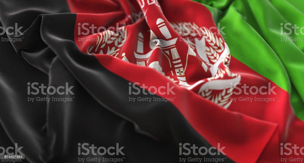 Afghanistan Flag Ruffled Beautifully Waving Macro Close-Up Shot stock photo
