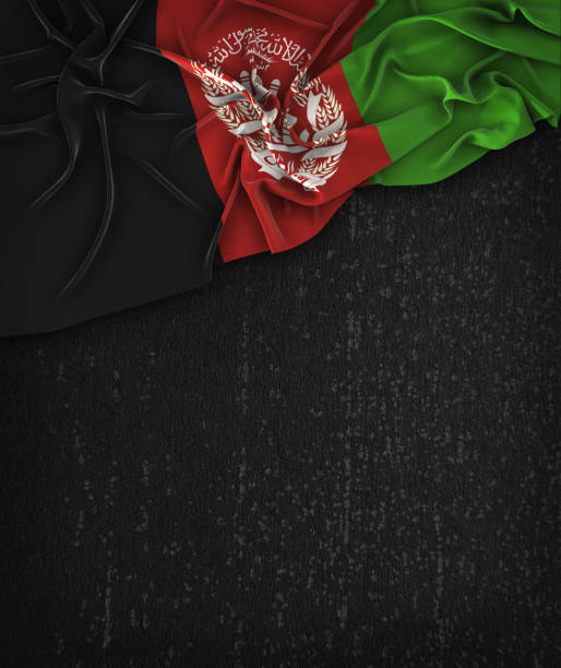 Afghanistan Flag Vintage on a Grunge Black Chalkboard With Space For Text stock photo