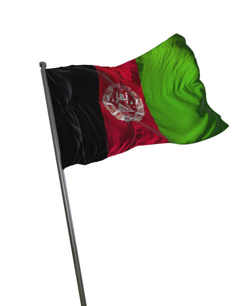 Afeganistão bandeira acenando isolado no fundo branco retrato - foto de acervo
